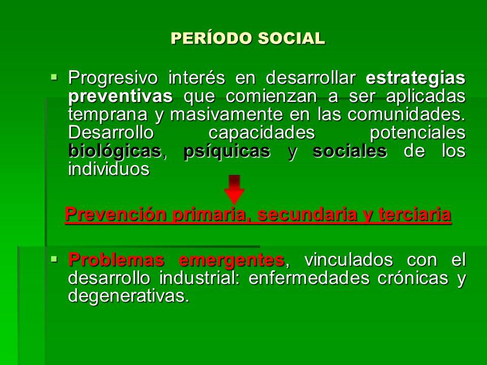 PERÍODO SOCIAL Progresivo interés en desarrollar estrategias preventivas que comienzan a ser aplicadas temprana y masivamente en las comunidades. Desa