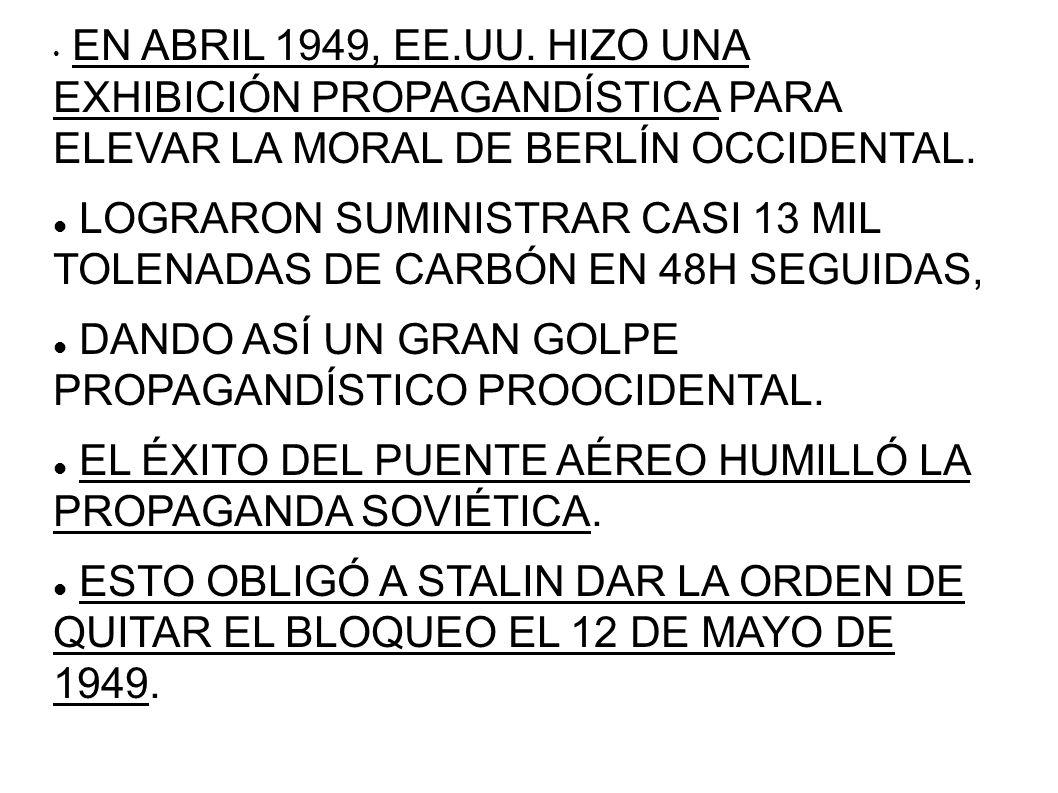 EN ABRIL 1949, EE.UU. HIZO UNA EXHIBICIÓN PROPAGANDÍSTICA PARA ELEVAR LA MORAL DE BERLÍN OCCIDENTAL. LOGRARON SUMINISTRAR CASI 13 MIL TOLENADAS DE CAR