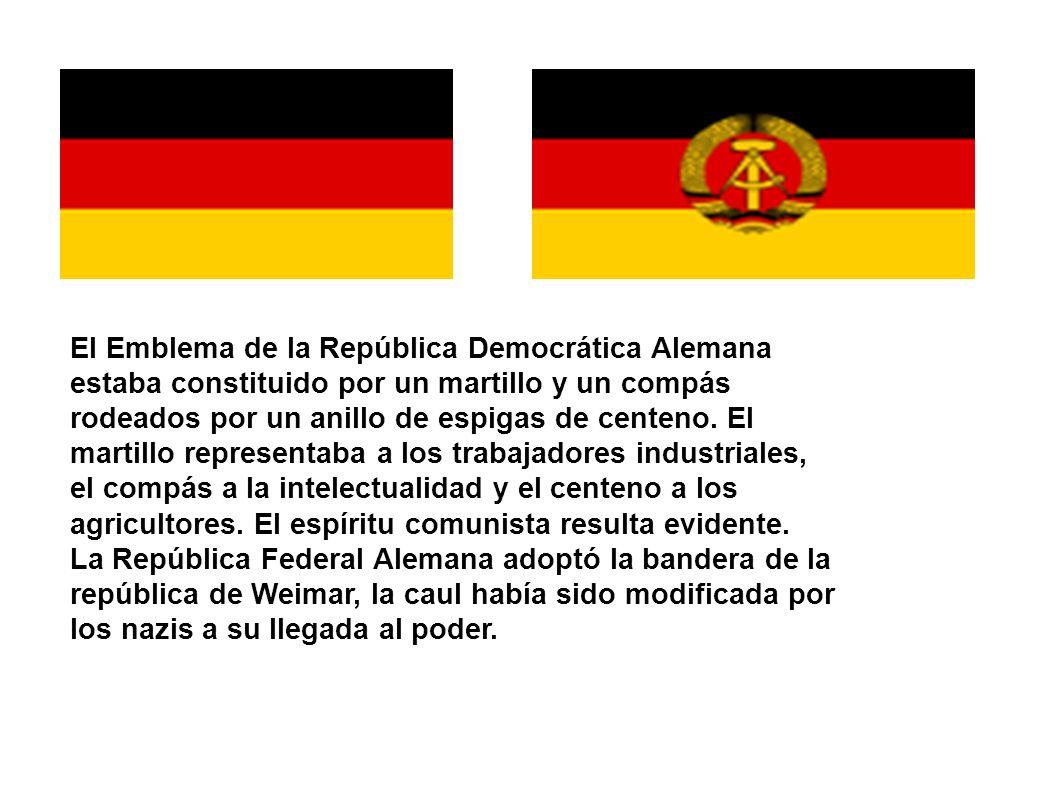 El Emblema de la República Democrática Alemana estaba constituido por un martillo y un compás rodeados por un anillo de espigas de centeno. El martill