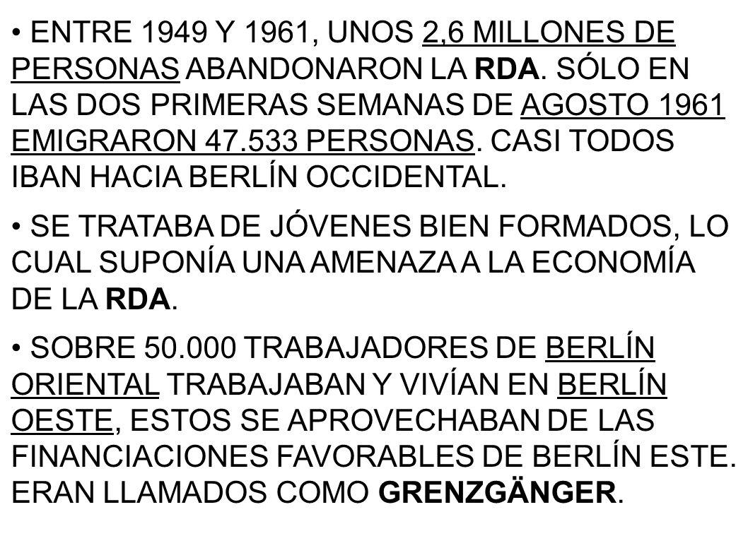 ENTRE 1949 Y 1961, UNOS 2,6 MILLONES DE PERSONAS ABANDONARON LA RDA. SÓLO EN LAS DOS PRIMERAS SEMANAS DE AGOSTO 1961 EMIGRARON 47.533 PERSONAS. CASI T