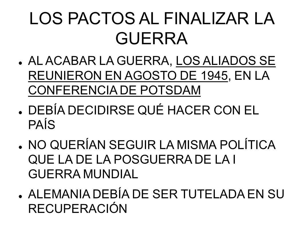 CONFERENCIA DE POTSDAM DESCENTRALIZACIÓN DE ALEMANIA ABOLICIÓN DE LAS FUERZAS ARMADAS DESTRUCCIÓN DE FRÁBRICAS DE MUNICIÓN Y ARMAS, Y TAMBIÉN LAS FÁBRICAS DE AERONAVES Y BARCOS REDUCCIÓN DE LA INDUSTRIA AL 50% DE LA DE 1938 LA INDUSTRIA ACERERA SE REDUJO AL 25% Y LA AUTOMOVILÍSTICA AL 10% ALEMANIA IBA A SER REDUCIDA A LOS NIVELES DE VIDA DEL CLÍMAX DE LA GRAN DEPRESIÓN DE 1932