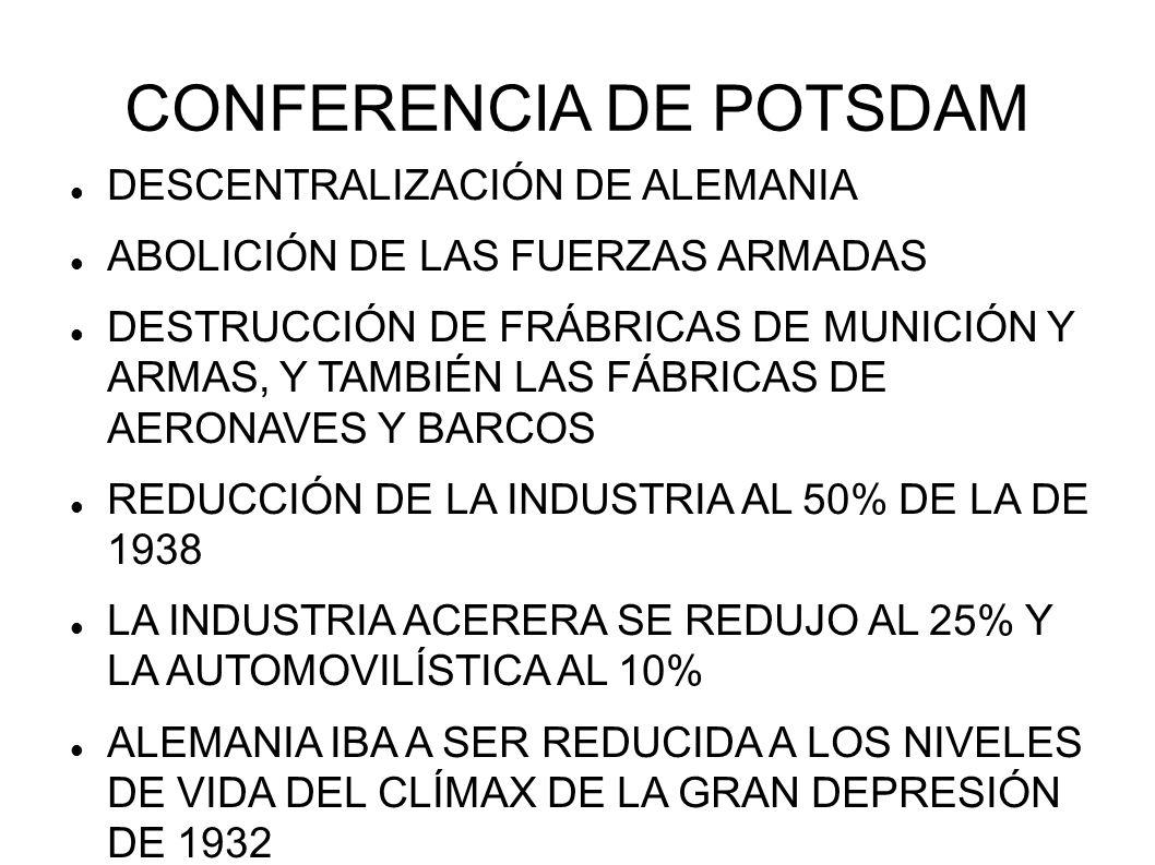 CONFERENCIA DE POTSDAM DESCENTRALIZACIÓN DE ALEMANIA ABOLICIÓN DE LAS FUERZAS ARMADAS DESTRUCCIÓN DE FRÁBRICAS DE MUNICIÓN Y ARMAS, Y TAMBIÉN LAS FÁBR
