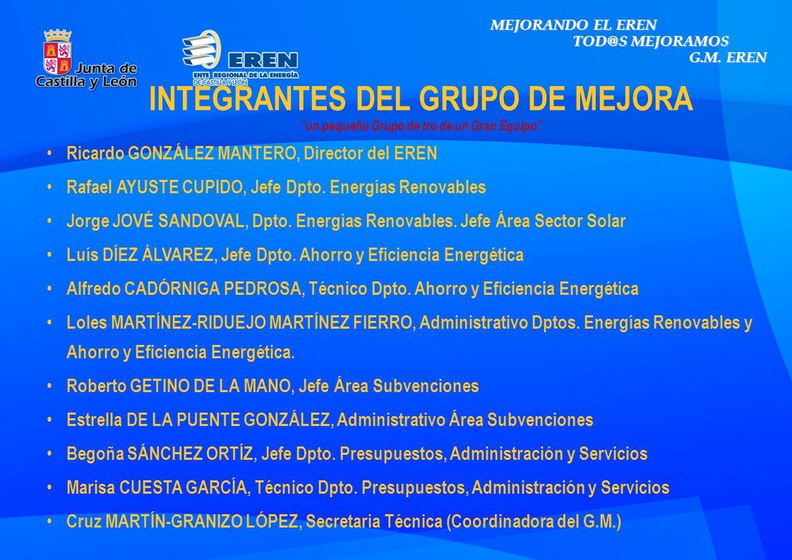INTEGRANTES DEL GRUPO DE MEJORA un pequeño Grupo de tro de un Gran Equipo Ricardo GONZÁLEZ MANTERO, Director del EREN Rafael AYUSTE CUPIDO, Jefe Dpto.