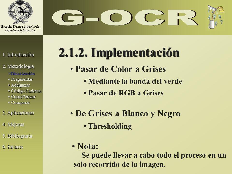 2.1.2. Implementación Pasar de Color a Grises De Grises a Blanco y Negro Mediante la banda del verde Pasar de RGB a Grises Thresholding Se puede lleva