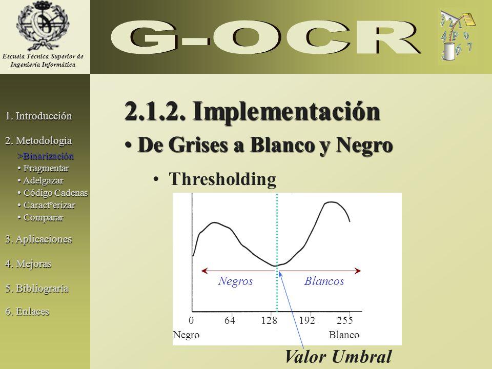 De Grises a Blanco y Negro De Grises a Blanco y Negro Thresholding Valor Umbral 064128192255 NegroBlanco BlancosNegros 2.1.2. Implementación 1. Introd