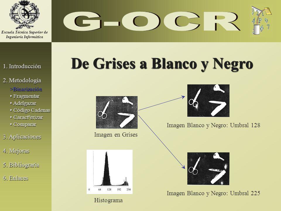 De Grises a Blanco y Negro Imagen en Grises Imagen Blanco y Negro: Umbral 128 Imagen Blanco y Negro: Umbral 225 Histograma 1. Introducción 2. Metodolo