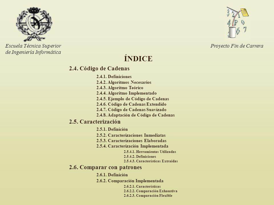 Escuela Técnica Superior de Ingeniería Informática ÍNDICE 2.4. Código de Cadenas 2.4.1. Definiciones 2.4.2. Algoritmos Necesarios 2.4.3. Algoritmo Teó