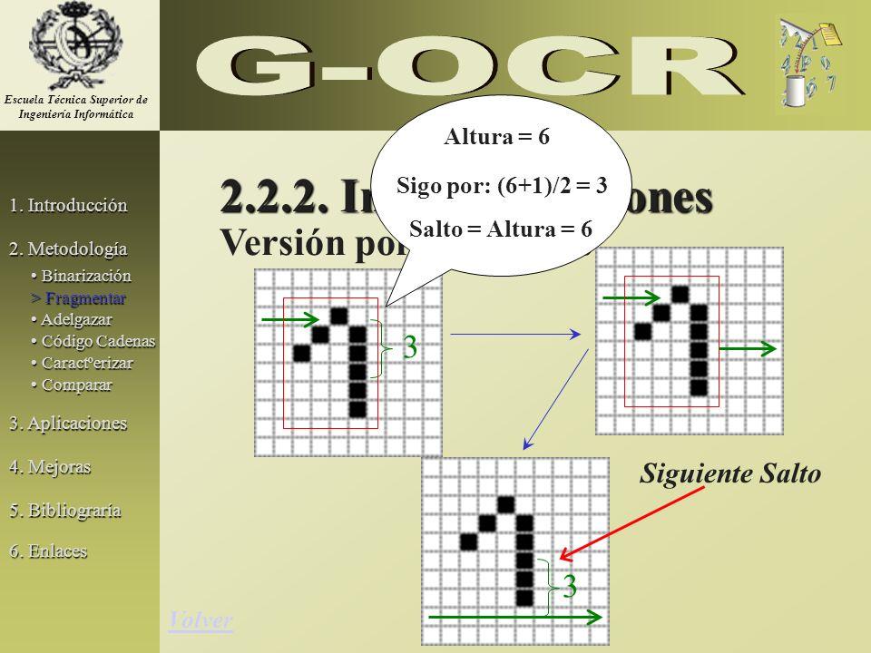 2.2.2. Implementaciones 3 Versión por Renglones Siguiente Salto 3 Volver 1. Introducción 2. Metodología 3. Aplicaciones 5. Bibliograría Binarización B