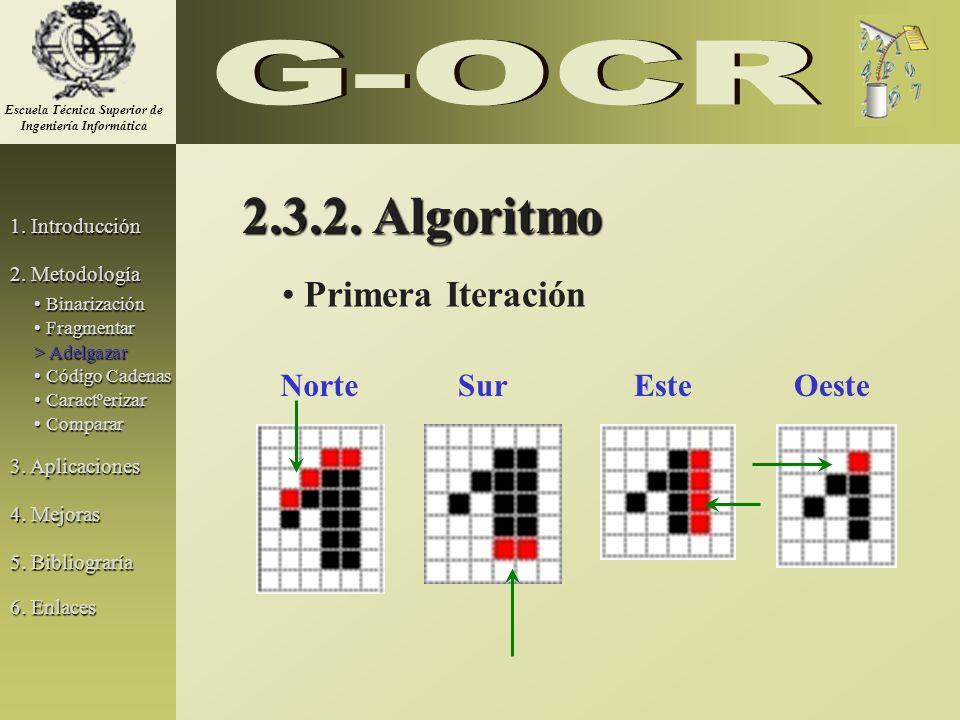 2.3.2. Algoritmo Primera Iteración NorteSurEsteOeste 1. Introducción 2. Metodología 3. Aplicaciones 5. Bibliograría Binarización Binarización Fragment