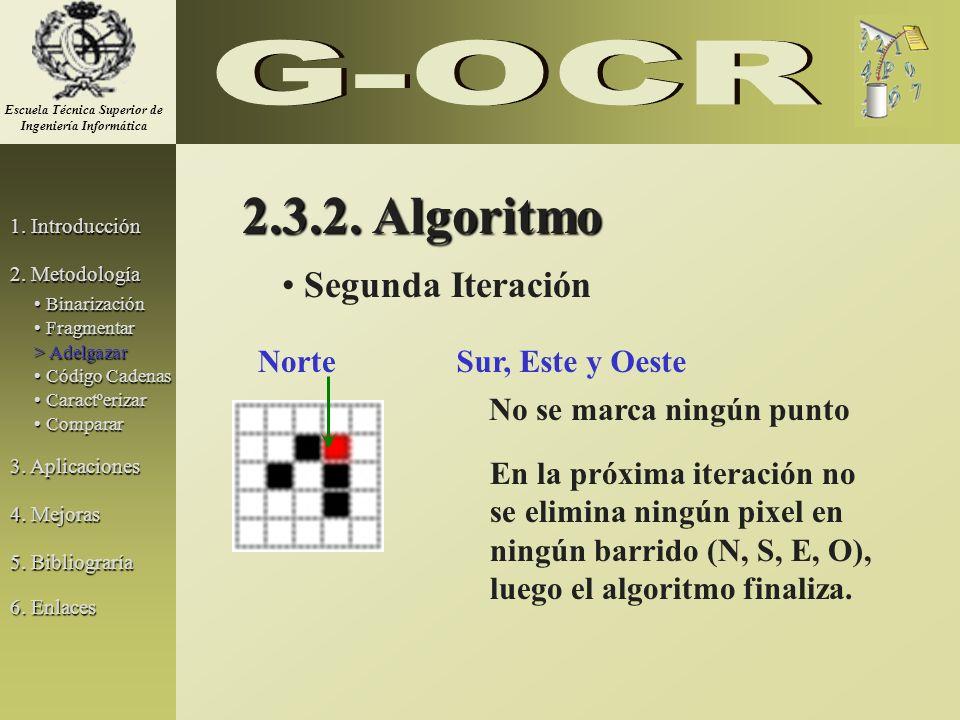 2.3.2. Algoritmo Segunda Iteración NorteSur, Este y Oeste No se marca ningún punto En la próxima iteración no se elimina ningún pixel en ningún barrid