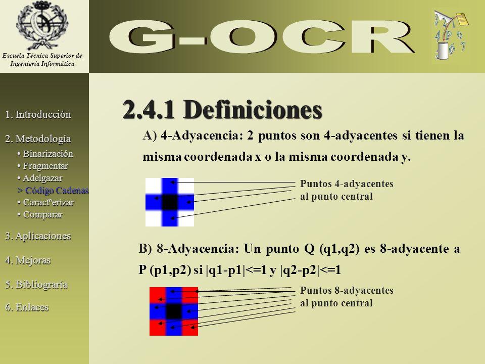 2.4.1 Definiciones A) 4-Adyacencia: 2 puntos son 4-adyacentes si tienen la misma coordenada x o la misma coordenada y. B) 8-Adyacencia: Un punto Q (q1