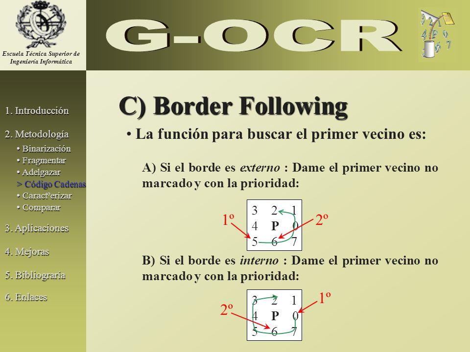 C) Border Following La función para buscar el primer vecino es: A) Si el borde es externo : Dame el primer vecino no marcado y con la prioridad: B) Si