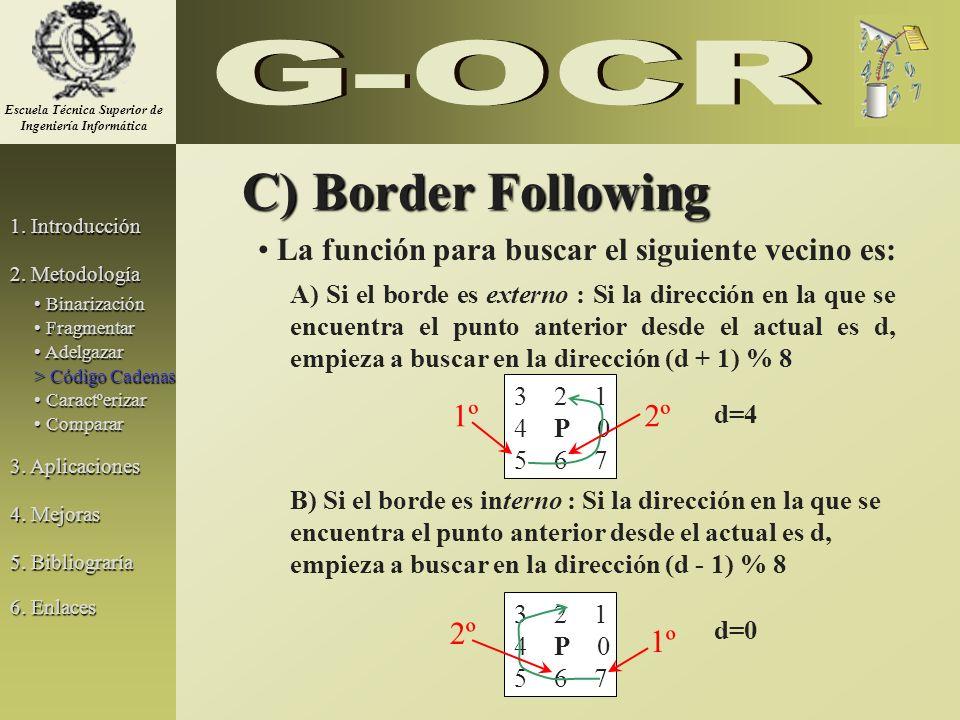 C) Border Following La función para buscar el siguiente vecino es: A) Si el borde es externo : Si la dirección en la que se encuentra el punto anterio