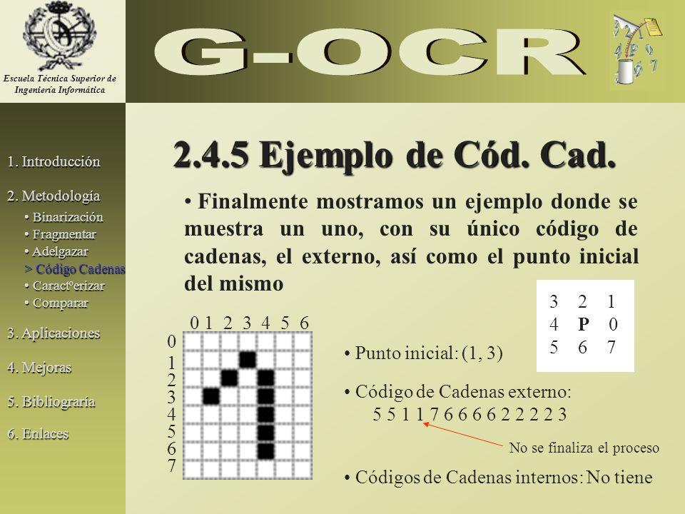 2.4.5 Ejemplo de Cód. Cad. Punto inicial: (1, 3) Código de Cadenas externo: 5 5 1 1 7 6 6 6 6 2 2 2 2 3 Códigos de Cadenas internos: No tiene Finalmen