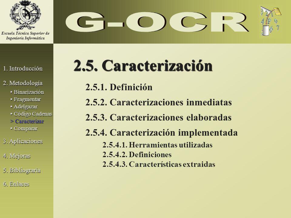 2.5. Caracterización 2.5.1. Definición 2.5.2. Caracterizaciones inmediatas 2.5.3. Caracterizaciones elaboradas 2.5.4. Caracterización implementada 2.5