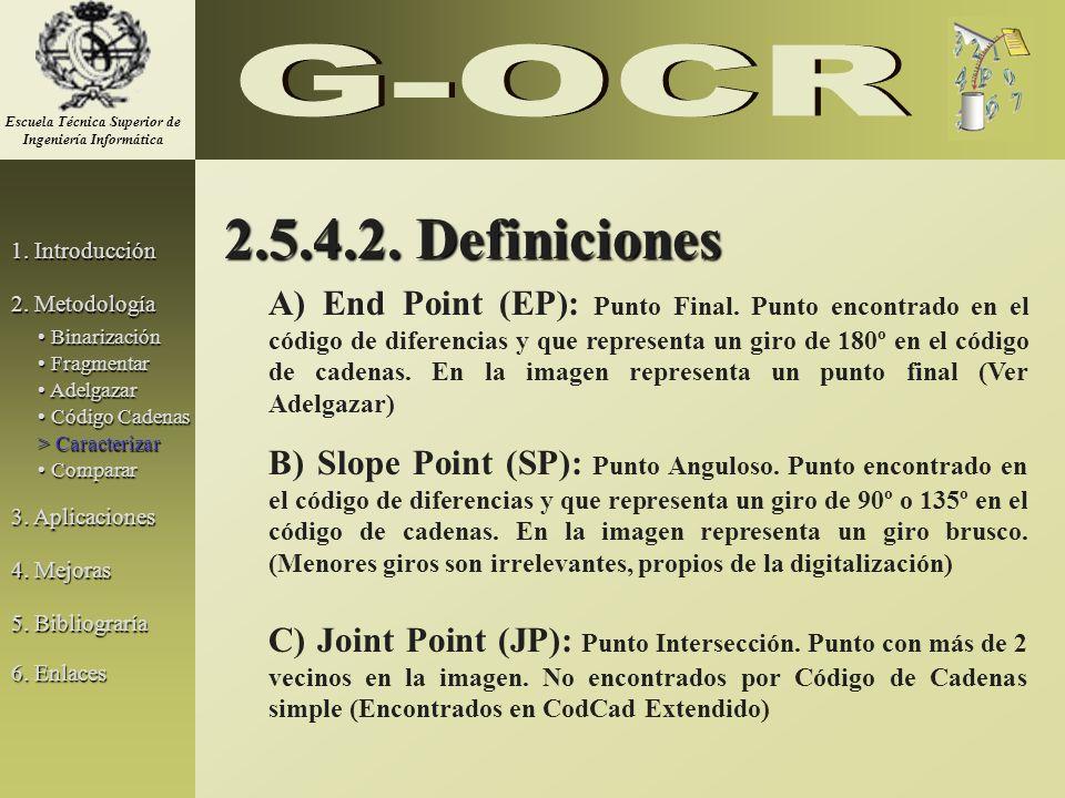 2.5.4.2. Definiciones A) End Point (EP): Punto Final. Punto encontrado en el código de diferencias y que representa un giro de 180º en el código de ca