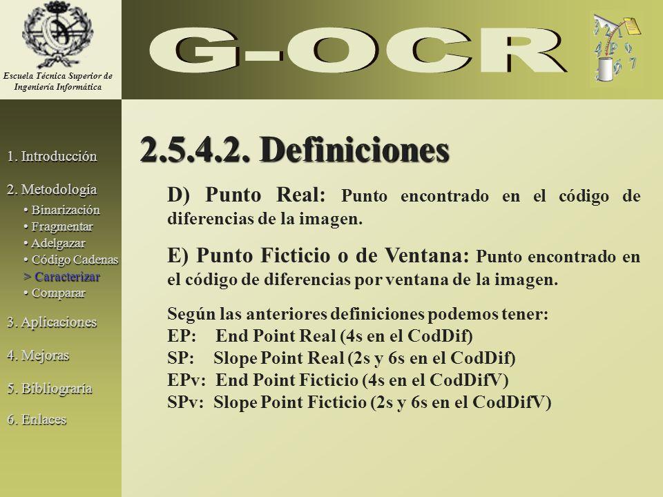 2.5.4.2. Definiciones D) Punto Real: Punto encontrado en el código de diferencias de la imagen. E) Punto Ficticio o de Ventana: Punto encontrado en el