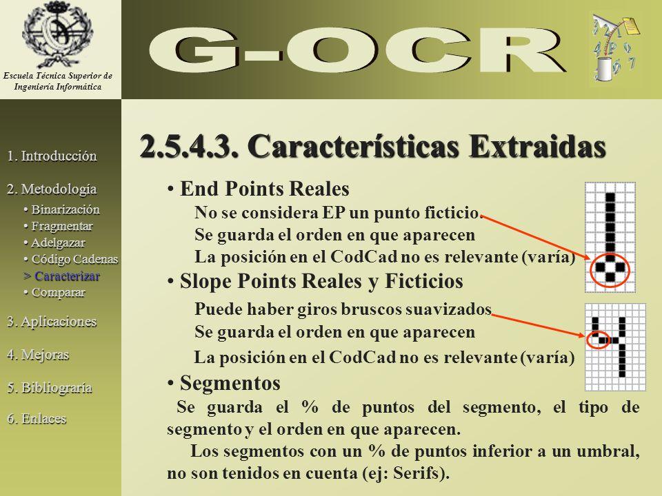 2.5.4.3. Características Extraidas End Points Reales No se considera EP un punto ficticio. Se guarda el orden en que aparecen La posición en el CodCad