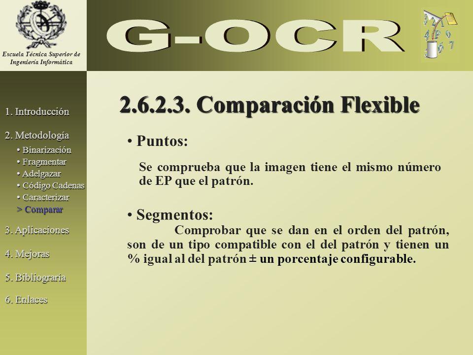 2.6.2.3. Comparación Flexible Puntos: Se comprueba que la imagen tiene el mismo número de EP que el patrón. Segmentos: Comprobar que se dan en el orde