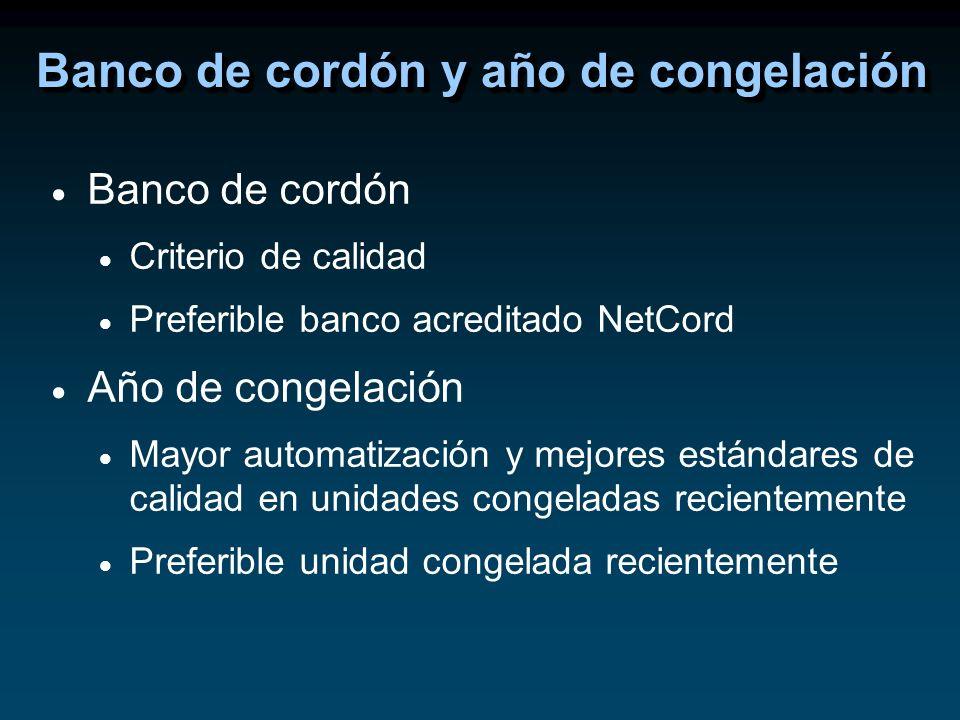 Banco de cordón Criterio de calidad Preferible banco acreditado NetCord Año de congelación Mayor automatización y mejores estándares de calidad en uni