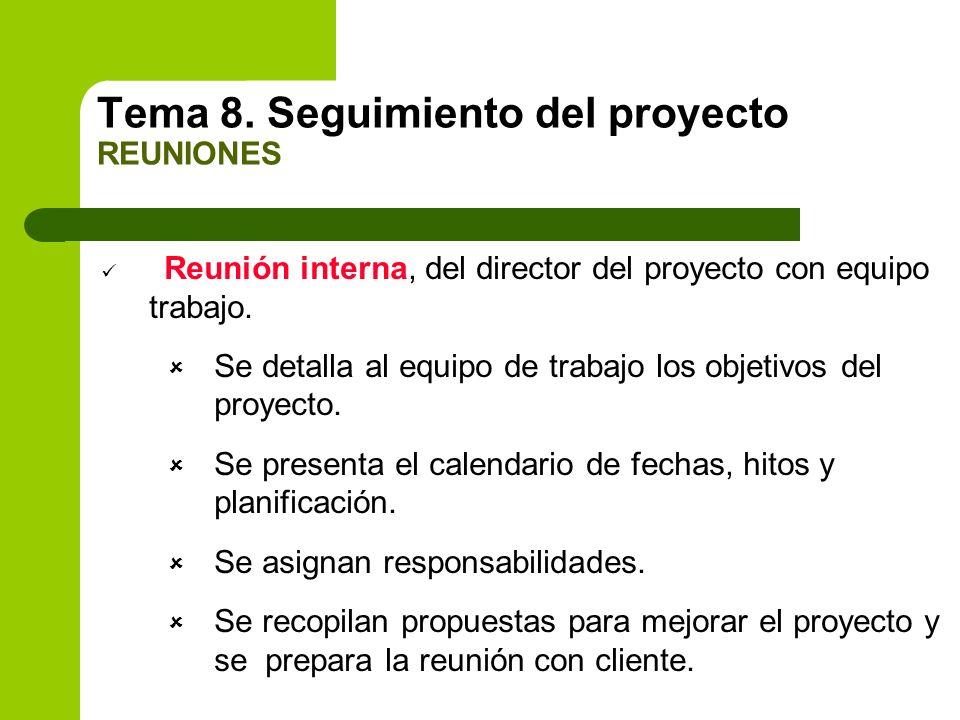 Reunión interna, del director del proyecto con equipo trabajo. Se detalla al equipo de trabajo los objetivos del proyecto. Se presenta el calendario d