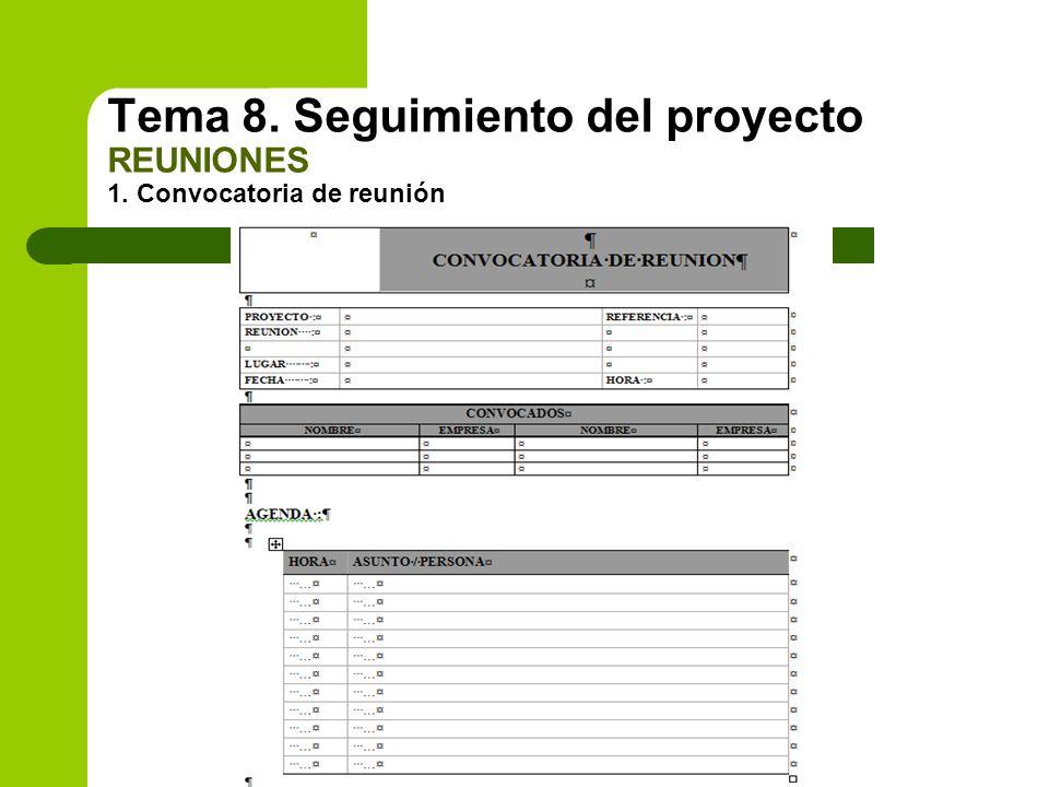 Tema 8. Seguimiento del proyecto REUNIONES 1. Convocatoria de reunión