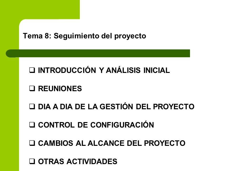 Tema 8: Seguimiento del proyecto INTRODUCCIÓN Y ANÁLISIS INICIAL REUNIONES DIA A DIA DE LA GESTIÓN DEL PROYECTO CONTROL DE CONFIGURACIÓN CAMBIOS AL AL