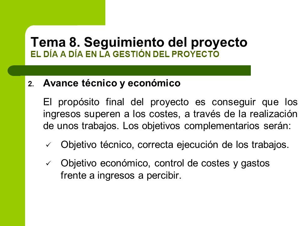 2. Avance técnico y económico El propósito final del proyecto es conseguir que los ingresos superen a los costes, a través de la realización de unos t