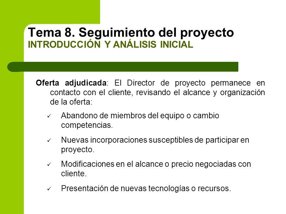 Oferta adjudicada: El Director de proyecto permanece en contacto con el cliente, revisando el alcance y organización de la oferta: Abandono de miembro