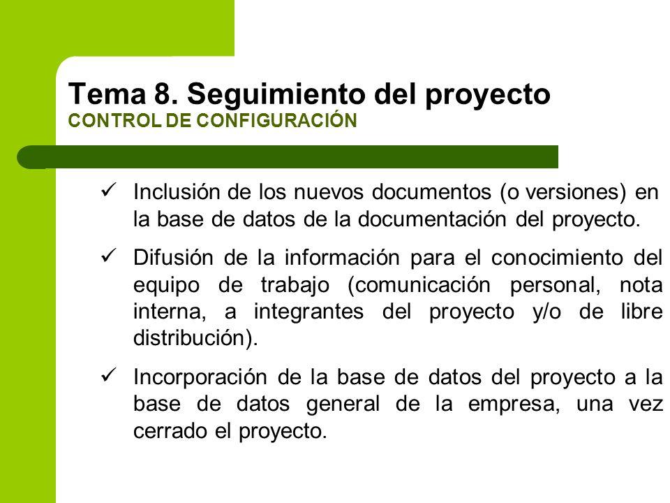 Inclusión de los nuevos documentos (o versiones) en la base de datos de la documentación del proyecto. Difusión de la información para el conocimiento