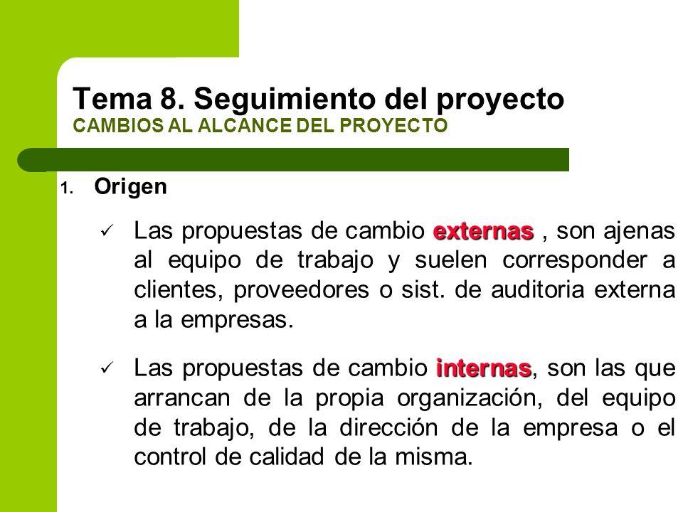1. Origen externas Las propuestas de cambio externas, son ajenas al equipo de trabajo y suelen corresponder a clientes, proveedores o sist. de auditor