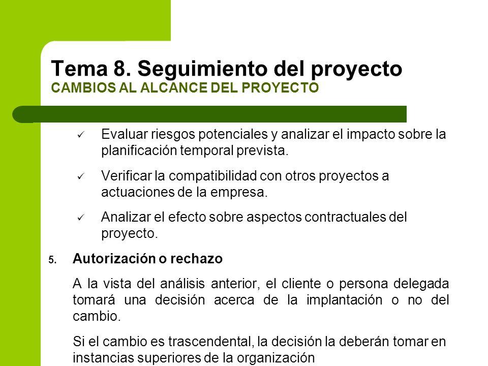 Evaluar riesgos potenciales y analizar el impacto sobre la planificación temporal prevista. Verificar la compatibilidad con otros proyectos a actuacio