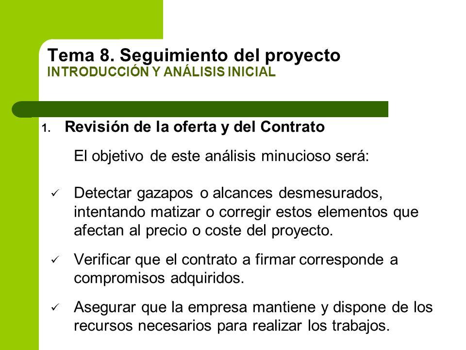 Tema 8. Seguimiento del proyecto INTRODUCCIÓN Y ANÁLISIS INICIAL 1. Revisión de la oferta y del Contrato El objetivo de este análisis minucioso será: