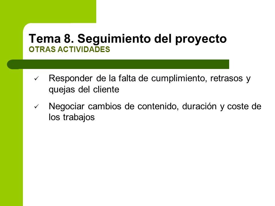 Responder de la falta de cumplimiento, retrasos y quejas del cliente Negociar cambios de contenido, duración y coste de los trabajos Tema 8. Seguimien
