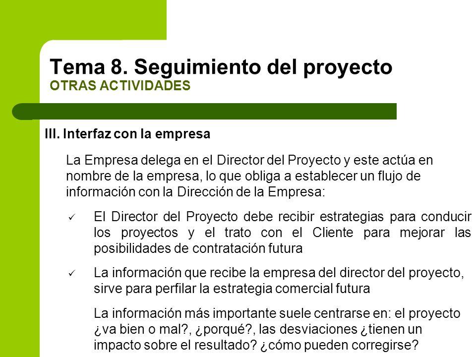 III. Interfaz con la empresa La Empresa delega en el Director del Proyecto y este actúa en nombre de la empresa, lo que obliga a establecer un flujo d