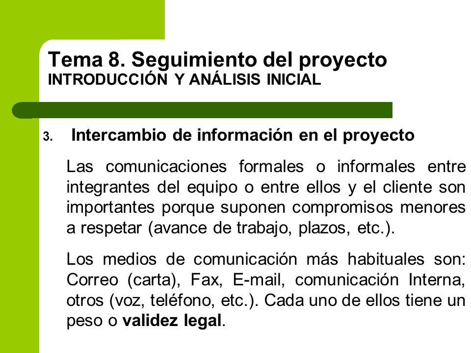 3. Intercambio de información en el proyecto Las comunicaciones formales o informales entre integrantes del equipo o entre ellos y el cliente son impo