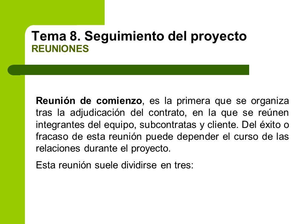 Tema 8. Seguimiento del proyecto REUNIONES Reunión de comienzo, es la primera que se organiza tras la adjudicación del contrato, en la que se reúnen i