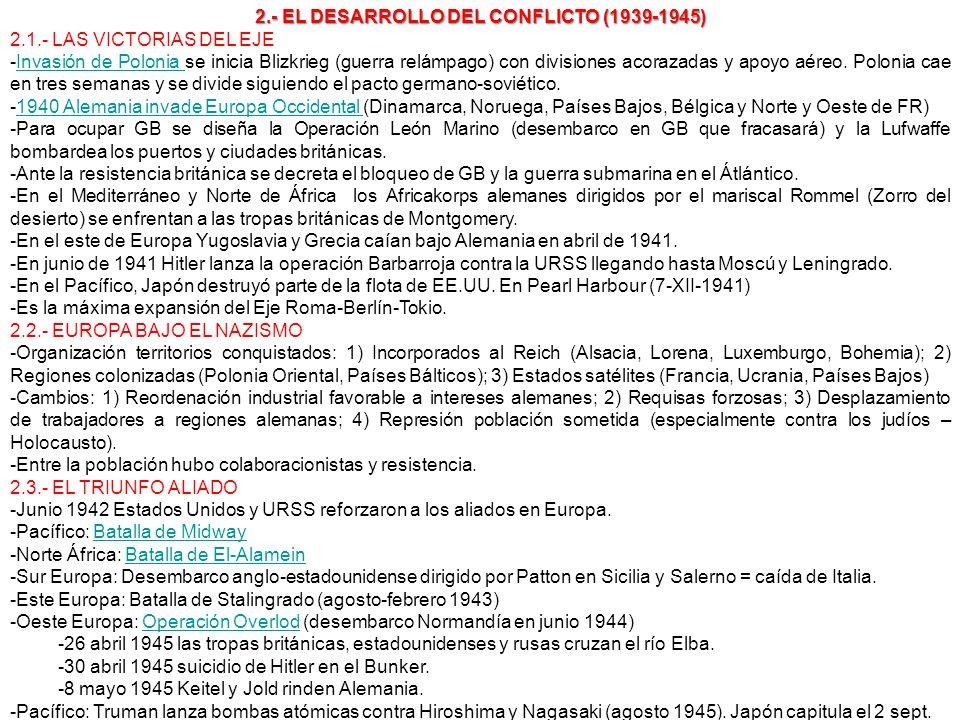 2.- EL DESARROLLO DEL CONFLICTO (1939-1945) 2.1.- LAS VICTORIAS DEL EJE -Invasión de Polonia se inicia Blizkrieg (guerra relámpago) con divisiones aco