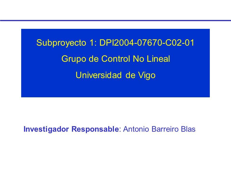 Investigador Responsable: Antonio Barreiro Blas Subproyecto 1: DPI2004-07670-C02-01 Grupo de Control No Lineal Universidad de Vigo