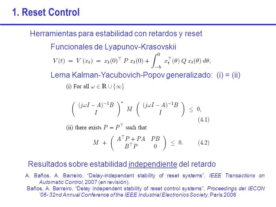 1. Reset Control Herramientas para estabilidad con retardos y reset Funcionales de Lyapunov-Krasovskii Lema Kalman-Yacubovich-Popov generalizado: (i)