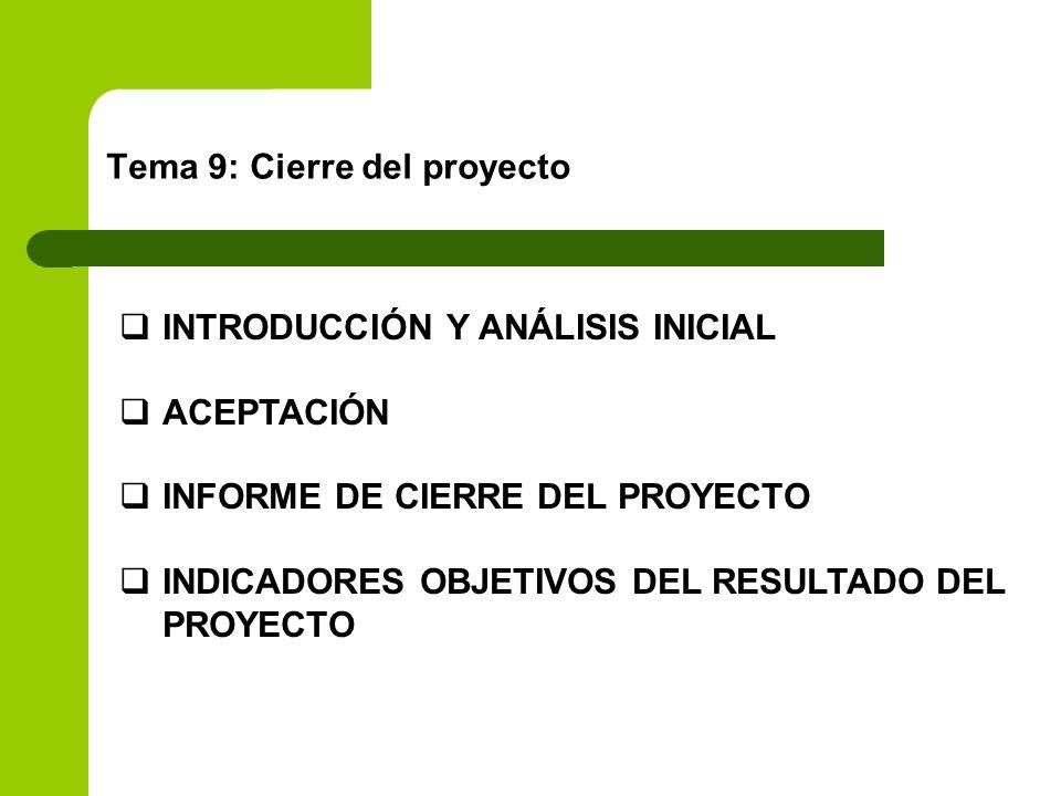 Tema 9: Cierre del proyecto INTRODUCCIÓN Y ANÁLISIS INICIAL ACEPTACIÓN INFORME DE CIERRE DEL PROYECTO INDICADORES OBJETIVOS DEL RESULTADO DEL PROYECTO