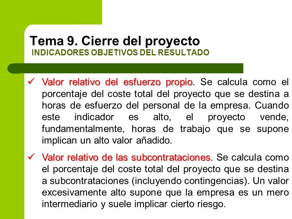 Valor relativo del esfuerzo propio Valor relativo del esfuerzo propio. Se calcula como el porcentaje del coste total del proyecto que se destina a hor