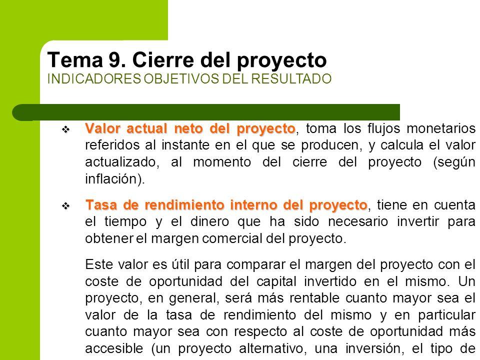 Valor actual neto del proyecto Valor actual neto del proyecto, toma los flujos monetarios referidos al instante en el que se producen, y calcula el va