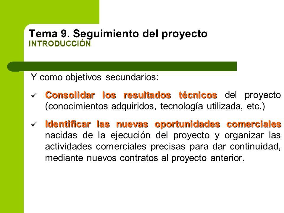 Tema 9. Seguimiento del proyecto INTRODUCCIÓN Y como objetivos secundarios: Consolidar los resultados técnicos Consolidar los resultados técnicos del