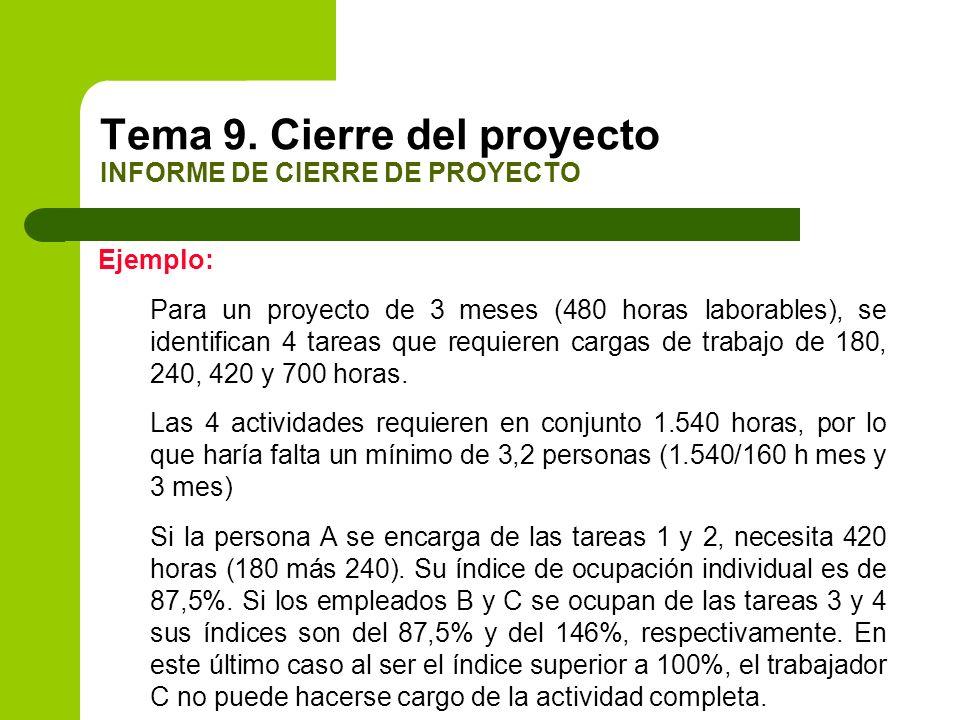 Ejemplo: Para un proyecto de 3 meses (480 horas laborables), se identifican 4 tareas que requieren cargas de trabajo de 180, 240, 420 y 700 horas. Las
