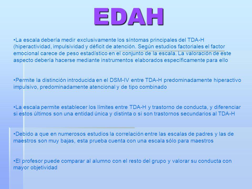 EDAH La escala debería medir exclusivamente los síntomas principales del TDA-H (hiperactividad, impulsividad y déficit de atención. Según estudios fac