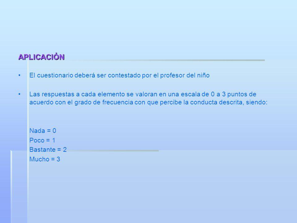 APLICACIÓN El cuestionario deberá ser contestado por el profesor del niño Las respuestas a cada elemento se valoran en una escala de 0 a 3 puntos de a