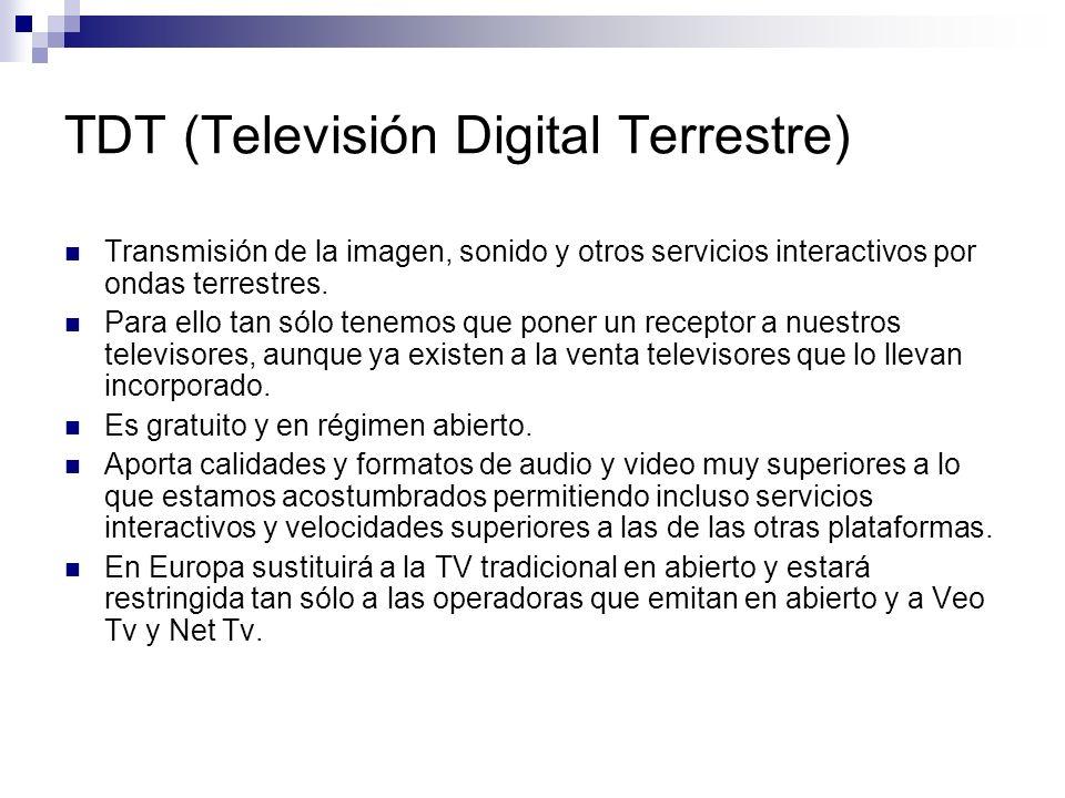 TDT (Televisión Digital Terrestre) Transmisión de la imagen, sonido y otros servicios interactivos por ondas terrestres. Para ello tan sólo tenemos qu