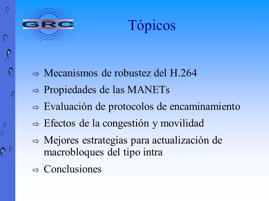 Tópicos Mecanismos de robustez del H.264 Propiedades de las MANETs Evaluación de protocolos de encaminamiento Efectos de la congestión y movilidad Mej