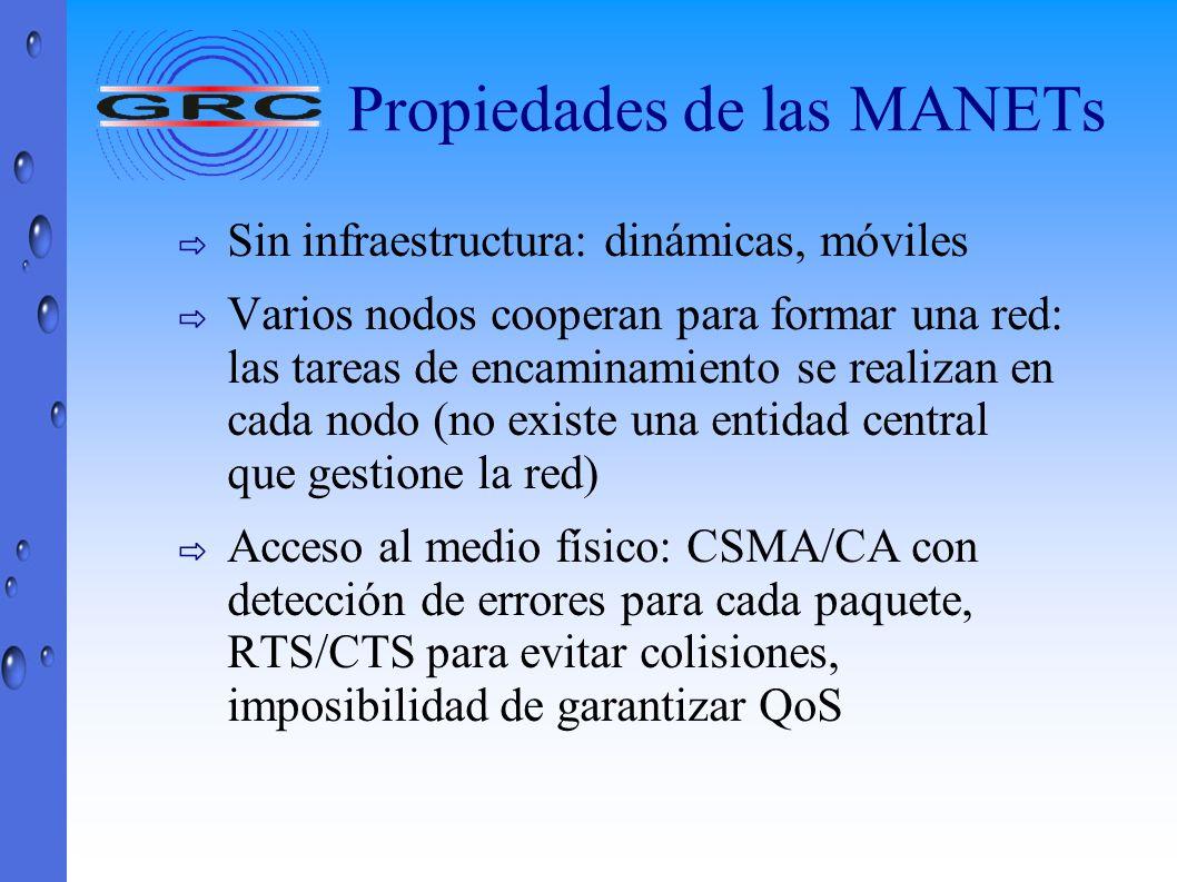 Propiedades de las MANETs Sin infraestructura: dinámicas, móviles Varios nodos cooperan para formar una red: las tareas de encaminamiento se realizan